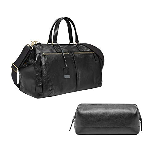 """Fossil Men's Framed Shave Kit Black, 10.3"""" L x 6"""" W x 5.5"""" H and Fossil Men's Defender Duffle Black, One Size"""
