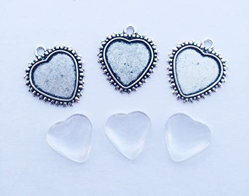 3er Set Cabochon Anhänger Herz Set zum Selberbasteln DIY Herzanhänger
