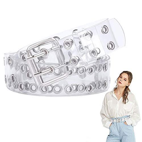LWZko Transparenter PVC-Gürtel, Damenmode Gürtel, Damen Gürtel Mode, Doppelter Ösengürtel, PVC Klarer Doppelösengürtel mit Löchern/Langer Kette für Frauen, Teenager, Mädchen