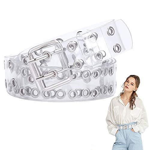 Cintura Trasparente, Cintura Trasparente in PVC, Cintura a Doppio Occhiello, PVC Cintura a Doppio Occhiello Trasparente con Fori/Catena Lunga per Donne, Adolescenti, Ragazze