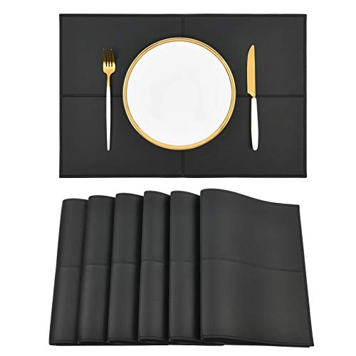Punkspace Reversible Black Faux Leather Placemats Set of 6 Heat and Stain Resistant Table Mats Waterproof Easy to Clean Washable for Kitchen Dining Table