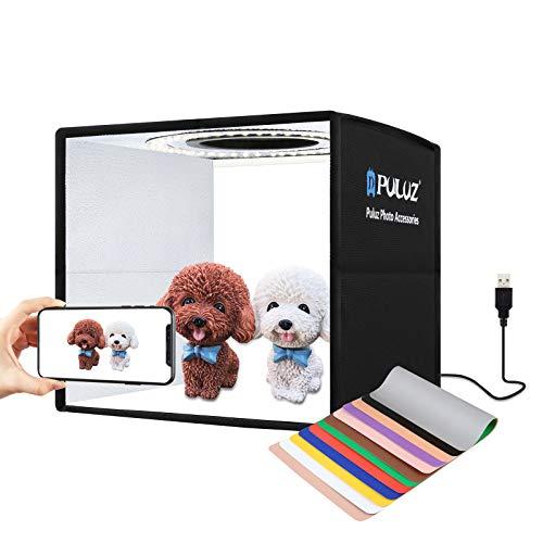 PULUZ 9.8'/25cm Foldable Portable Photo Studio Light Box, Adjustable Brightness Light Box...
