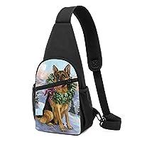 ジャーマンシェパード犬 ワンショルダーバッグ クロスボディバックパック ボディバッグ 斜めがけ バッグ おしゃれ 男女兼用 軽量 大容量