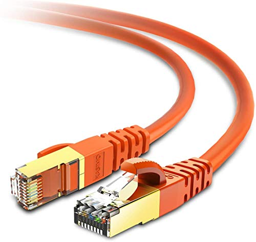KASIMO Cable Ethernet 5 Metros De Red Cat 8 con Conector RJ45 Oro Alta Velocidad 40 Gbps / 2000 Mhz Internet LAN Naranja