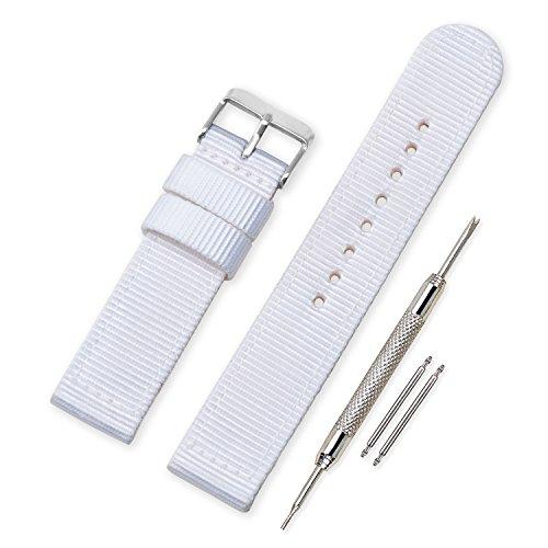 Vinband Cinturini Orologi Alta qualità Tela di canapa Orologi Bracciale Militari dell'esercito - 18mm, 20mm, 22mm, 24mm Cinturino Orologio Addensare Dell'acciaio Inossidabile (20mm, White)