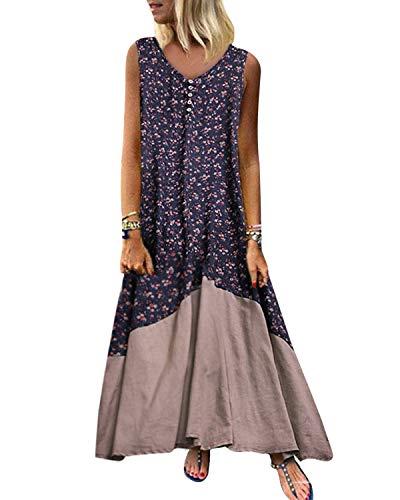 Kidsform Vestido largo de verano para mujer, vintage, sin mangas, retro, lino, algodón, talla grande, elegante azul M