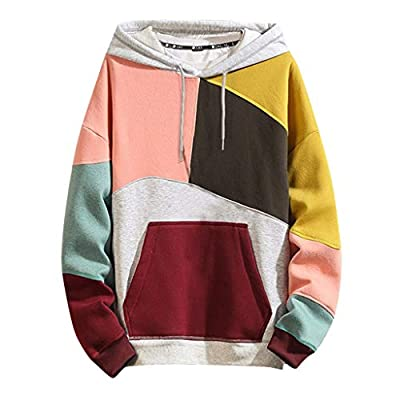 Landscap Fashion Hoodies Men's Casual Color Block Plus Size O-Neck Patchwork Hooded Sweatshirt Pullover(Yellow,L)