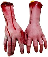 XONOR Fake Human Arm Hands Bloody Dead Body Parts Haunted House Halloween Decorations, 2-Pieces (Left and Right)
