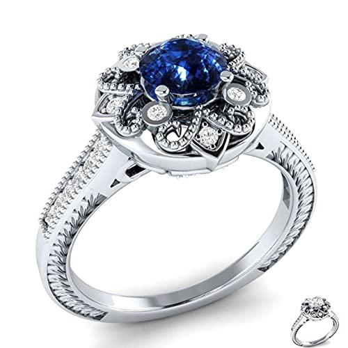 DJMJHG Modelado de Flores Creativo Anillo de Dama de joyería de Plata 925 Simple con Zafiro Aniversario de Compromiso Citas 10 Azul