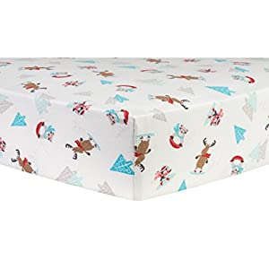 Trend Lab Frosty Fun Deluxe Flannel Fitted Crib Sheet