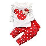 Abbigliamento Bambina Completi e Coordinati Neonata Neonato Pigiami Due Pezzi Top Pantaloni Abiti Set 2pcs Prima Infanzia (Red, 9-12M)