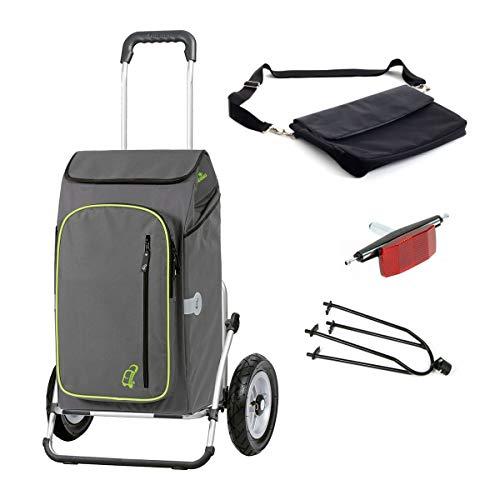 Andersen Einkaufstrolley Royal XXL luftbereift mit Fahrrad-Anhängerkupplung und 56 Liter Einkaufstasche Toto grau mit Kühlfach,extra Laptoptasche