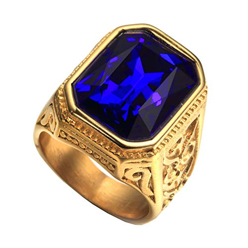 PAURO Anillo De Bodas Cuadrado De Oro De La Vendimia del Acero Inoxidable De Los Hombres De con Azul Grande De La Piedra TamañO 22