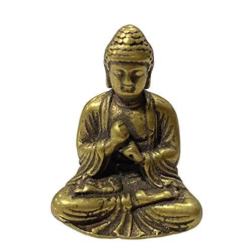AMYZ Buda Antiguo en Miniatura de Bolsillo Buda de latón Macizo Buda Sakyamuni pequeño Adorno joyería de Estilo Tradicional Chino