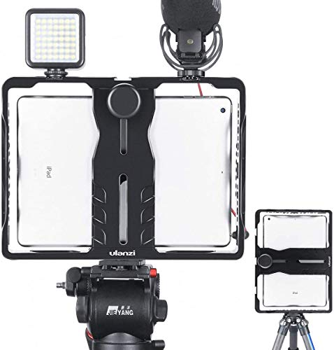ULANZI U-Pad Metal Video Cage,Tablet Vlog Rig Stabilizer w 1/4 inch Screw Triple Cold Shoe Mount Compatible w iPad/ iPad Pro/iPad Air/iPad Mini Tablets Vlogging Used On Microphone Video Light