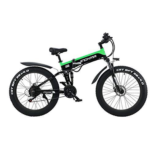 SONGZO Bicicleta Eléctrica 500W Bicicleta de Montaña de Nieve con Neumáticos Gruesos de 26 Pulgadas con Batería de Litio Extraíble de 48 V 12,8 AH