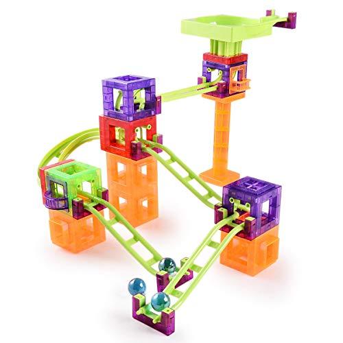 Cuddlez magnetische Kugelbahn – 56 Teile, Murmelbahn Achterbahn mit Magneten als spannendes Konstruktions-Spielzeug für Kinder, Magnetic Roller Coaster Bausteine-Set als interaktives Kugelbahnsystem