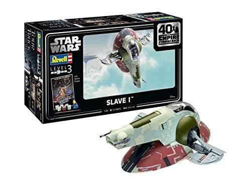 Revell 05678 Slave I-40th Anniversary The Star Wars originalgetreuer Modellbausatz für Einsteiger, mit Basis-Zubehör, unlackiert