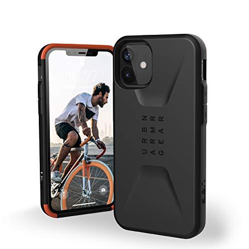 Urban Armor Gear Civilian Hülle Apple iPhone 12 Mini (5,4\'\' Zoll) Schutzhülle (Wireless Charging kompatibles Cover, Sturzfeste Handyhülle, Ultra Slim Bumper) - schwarz