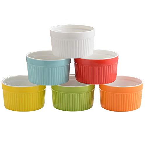 VIVILINEN 6er Set Soufflé Förmchen aus Keramik Backformen 10cm Pastetenförmchen Kuchenform Dessertschale für Muffins Creme Brulee Ragout Dessert (Mehrfarbig)
