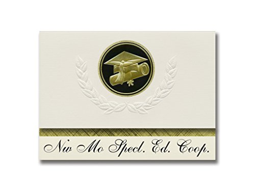 Signature Announcements Nw Mo Specl. Ed. Coop. (Maryville, MO) Graduation Announcements, Presidential style, Elite package of 25 Cap & Diploma Seal. Black & Gold. -  Signature Announcements, Inc, PAC_ELITEPres_HS25_118190_212320