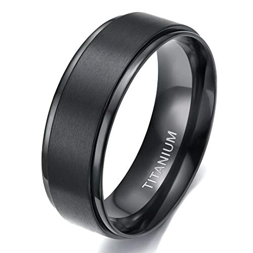 TIGRADE 4mm 6mm 8mm 10mm Black Titanium Rings Wedding Band Matte Comfort Fit for Men Women (Black 8MM, 10.5)