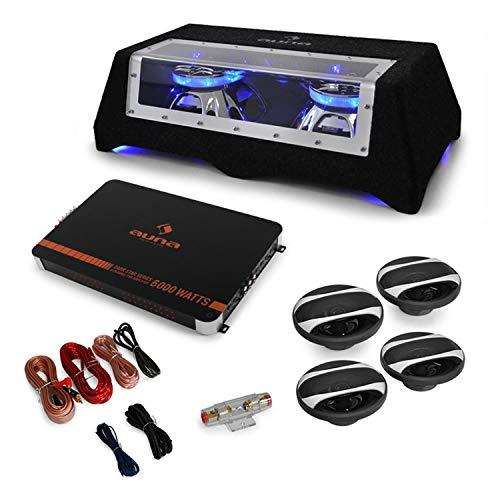 """Auna """"London Set Stereo HiFi 4.1 (1x Amplificatore 6000W, Tecnologia Mosfet, 1x Doppio Subwoofer CB350-50, 2X Altoparlanti 16,5 Cm, 2X Altoparlanti 10 Cm, Set Connessione 60A AGU)"""