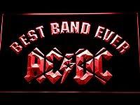 AC/DC Star Best Band Ever LED看板 ネオンサイン ライト 電飾 広告用標識 W60cm x H40cm レッド