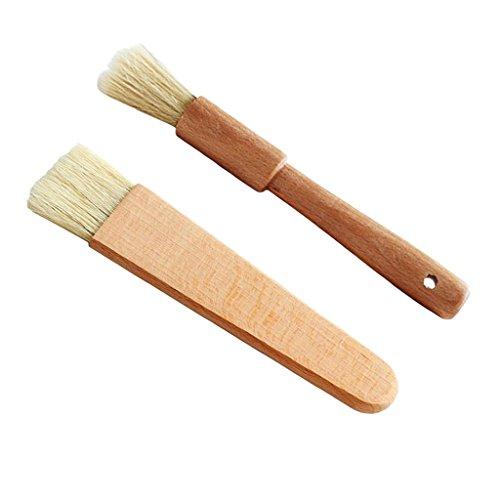 sharplace 2pcs pincel cepillo redondo/plana–Aceitera de barbacoa con mango de madera (esenciales de cocinado