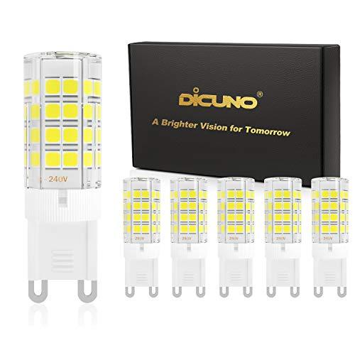 DiCUNO G9 LED Lampadine del 4W (Equivalente a 40W Lampada Alogena), 450LM, Bianco freddo 6000K, AC100-240V, Non-dimmerabile, Risparmio energetico, Base in ceramica, G9 standard, Confezione da 6