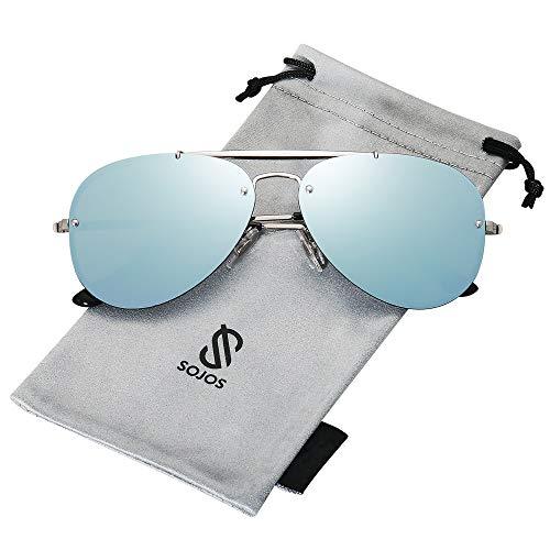 SOJOS Men#039s Women#039s Aviator Sunglasses Rimless Metal Frame TRENDALERT SJ1105 with Silver Frame/Blue Grey Mirrored Lens