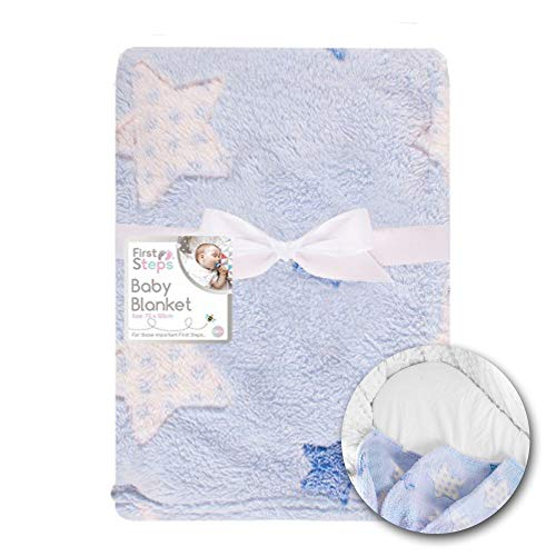 Soft Fleece Baby Blankets for Pram, Cot, Crib, Moses Basket | Blue Star Baby Blanket