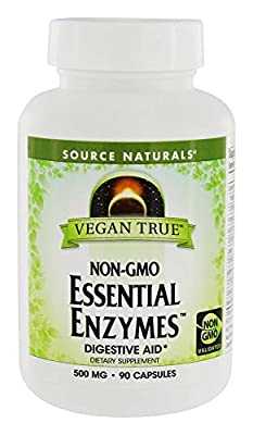 SOURCE NATURALS Vegan True Non-Gmo Essential Enzymes 500 Mg Vegetable Capsule