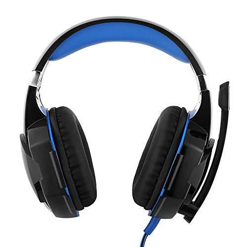 Mbuynow Cuffie da gioco surround con riduzione del rumore, microfono a LED, multi-piattaforma, per PC / PS4 / Xbox One/Switch (blu)…