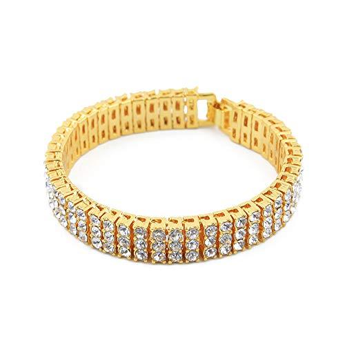Steeler Hip Hop 3 Filas Bling Tennis Bracelet AAA + Cubic Zirconia Charm Bracelets Jewelry Iced out Diamond Fashion Jewelry Regalos