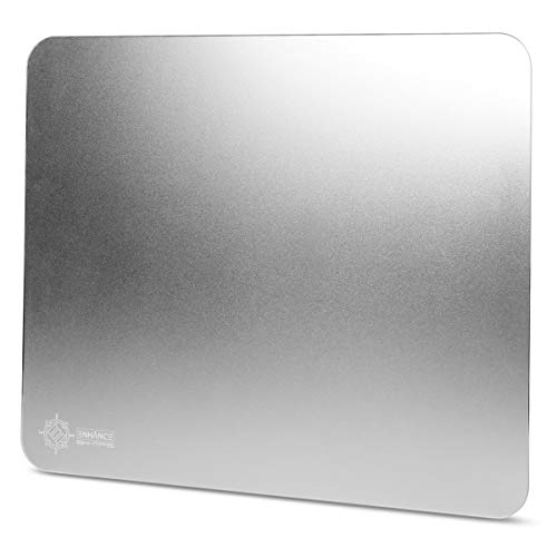 ENHANCE Hard Aluminum Mouse Pad - XL Metal Gaming Mousepad (12.4 x 10.6 in) with Smooth Precision Surface , Non-Slip Rubber Base , Silver Brushed Aluminum Surface for Improved Mouse Control