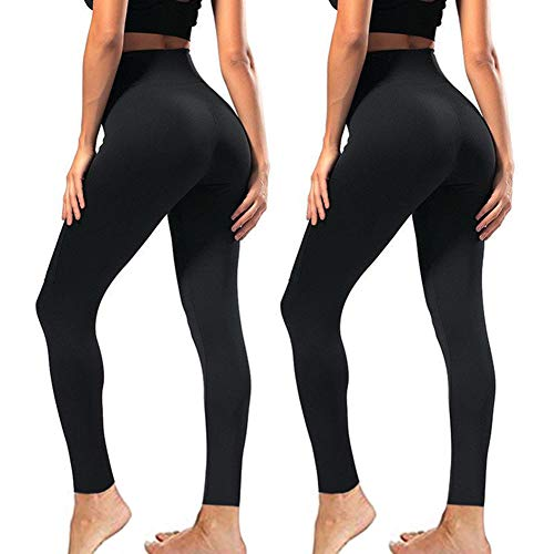 High Waisted Leggings for Women - Soft Athletic Tummy Control Pants for Running Cycling Yoga Workout - Reg & Plus Size (2 Pack Black, Small-Medium)