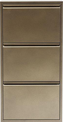 Caruso szafka uchylna na buty, metalowa, wąska, mała, złota, 3 klapy, meble do przedpokoju, półka na buty