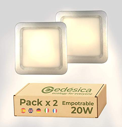 PACK X2 plafon led techo, panel led, plafones led, 20W 2000LM diámetro ⊠24cm cuadrado plateado empotrable, lampara led, lampara de techo, Dormitorio, Salon, Pasillos, Baños, Oficinas(3000K-Luz Cálida)