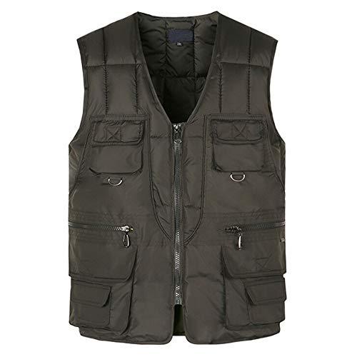 manadlian Homme Casual Doudoune en Coton Manteaux sans Manche Chaud Gilet Hommes Blouson en Multi Pocket Veste Hiver Jacket Grand Taille L-4XL