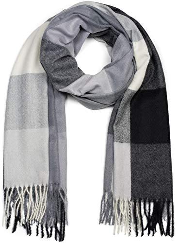 styleBREAKER Unisex weicher Karo Schal mit langen Fransen, kariert, Winter, Stola 01017110, Farbe:Grau-Schwarz-Weiß