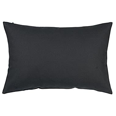 TangDepot Cotton Solid Throw Pillow Covers, 12  x 18  , Charcoal Gray