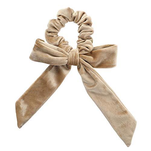 OULN1Y Bandeaux Women New Gold Velvet Bow Ribbon Scrunchie Elastic Bohemian Hairband Hair Rubber Ropes Girls Hair Ties Accessories,khaki
