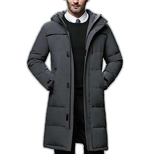 MJLAD Gentleman's Business Down Jacket, Klassieke Winter Hooded Down Jacket, Lange Stijlvolle Eenvoudige Coltrui Jack, Winter Down Jas voor Succesvolle Mensen