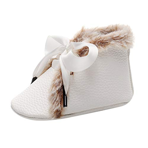 Oldlover✚Booties for Babies Unisex Newborn Baby Non-Slip Sole for Toddler Boys Girls Infant Winter Warm Boots Shoes White