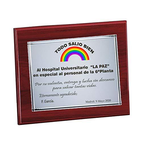 Curia Grabador Placa de homanaje Conmemorativa, Agradecimiento. Placas para Hospital, Regalos, jubilaciones Personalizada