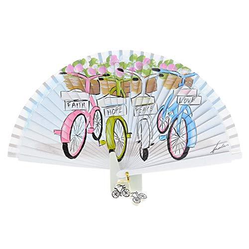Abanico Artesanal Pintado a Mano en Madera Dibujo de Bicicletas Talla: U...