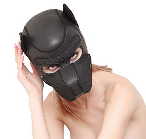 Sexy 3D Soft Neoprene Padded Puppy Hood Custom Mask Cosplay Animal Head Full Face Mask (Black)