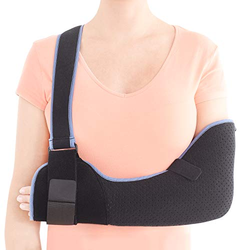 Velpeau Arm Sling Shoulder Immobilizer - Rotator Cuff Support Brace - Comfortable Medical Sling for Shoulder Injury, Left and Right Arm, Men and Women, for Broken, Dislocated, Fracture, Strain (Medium