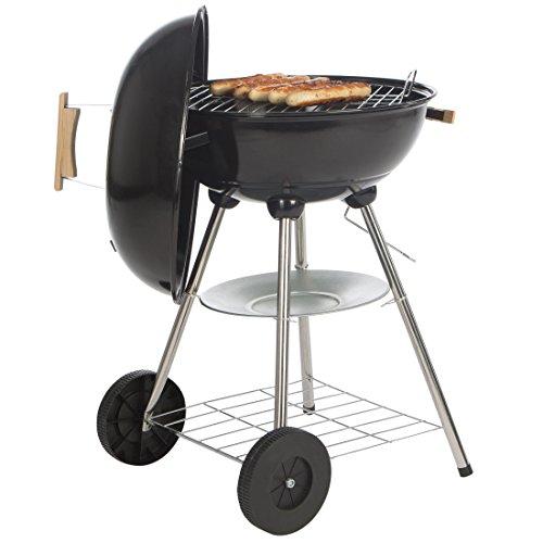 Bruzzzler Barbecue boule, barbecue à charbon, BBQ, barbecue à charbon facile à nettoyer avec thermomètre, noir-argenté, plusieurs niveaux de régulation de la chaleur, roulettes, diamètre d'env.